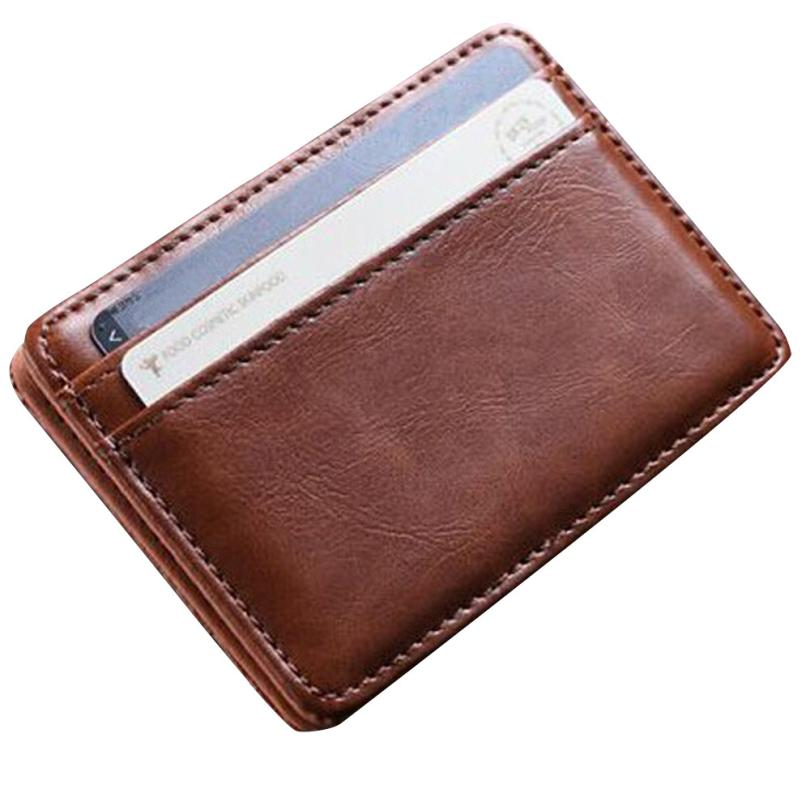 Men Leather Credit Card ID Holders Women Simple Thin Vintage Card Case Covers Female Cash Card Pack Cardholder Small Wallet  #W