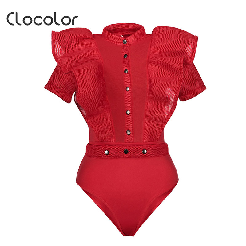 Clocolor Women Jumpsuit Falbala See-Through Patchwork Skinny Shorts Net Yarn Sexy Buttons Solid 2018 Fashion Women Jumpsuits