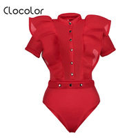 Clocolor Women Jumpsuit Falbala See Through Patchwork Skinny Shorts Net Yarn Sexy Buttons Solid 2018 Fashion Women Jumpsuits