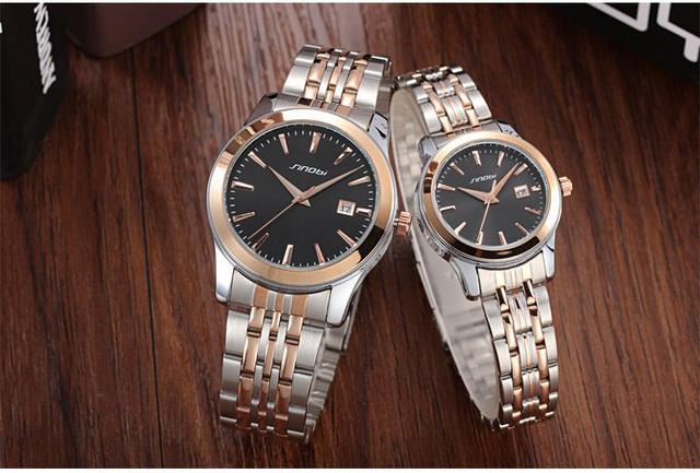 SINOBI Homens de Negócios de Relógios de Luxo Da Marca Completa de Aço Inoxidável relógio de Pulso Data relógio dos homens Casuais Relógio de Quartzo Relogio masculino