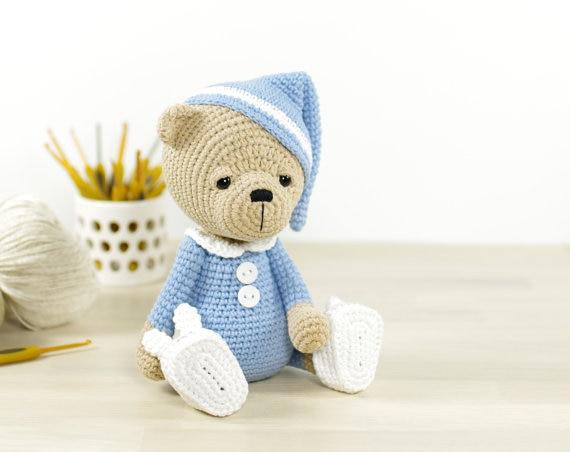 crochet Sleep  Bear in rattle toy doll