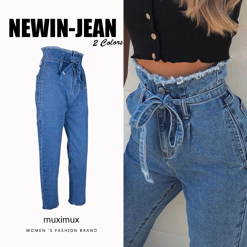 Muximux Autumn Denim Jeans Women High Waist Winter Jeans Femme Streetwear Tassel Straight Jeans Female Cowboy Denim Pants