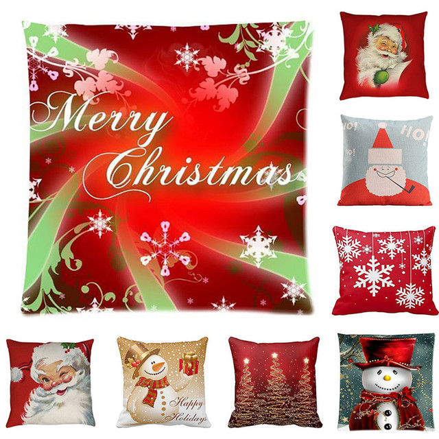 merry christmas pillow cases cotton linen pillow case cushion cover home decorative pillow case for sofa