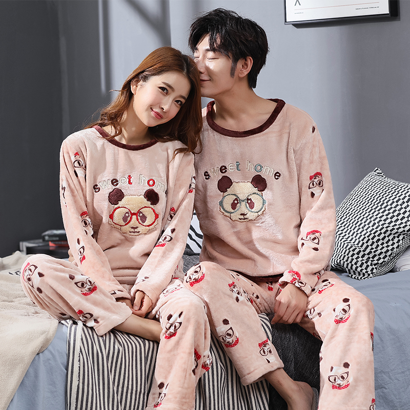 Winter Couple Cartoon Coral Velvet Pajamas Set Women Long Sleeve Plus Thick Warm Flannel Large Size Pyjamas Sets Home Suits 1811