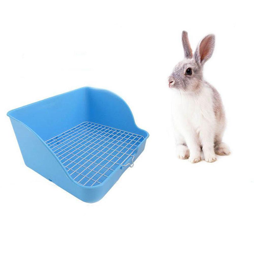 AsyPets Pet Rabbit Plastic Toilet Tray with Steel Wire Bottom Urinal ...