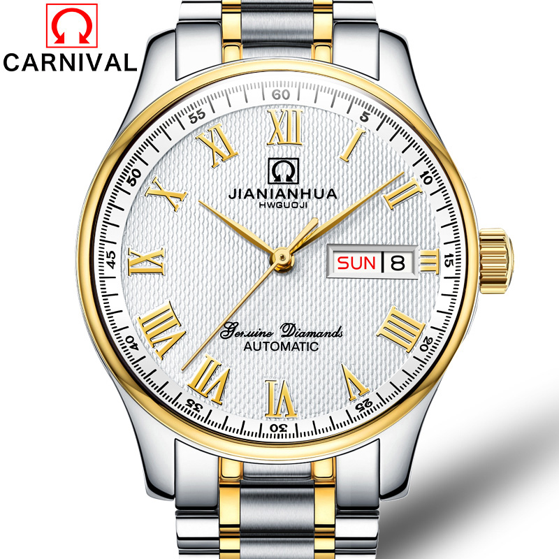 Carnival Watch men Stainless Steel Automatic Mechanical Luminous Waterproof Week date White Dial Roman Watches все цены