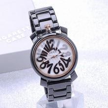 2016 Люкс HK Бренд Высокого Качества Подлинной Цифровой Большой Циферблат Мода Черный Дамы Женщины Подарок Наручные Часы оптом