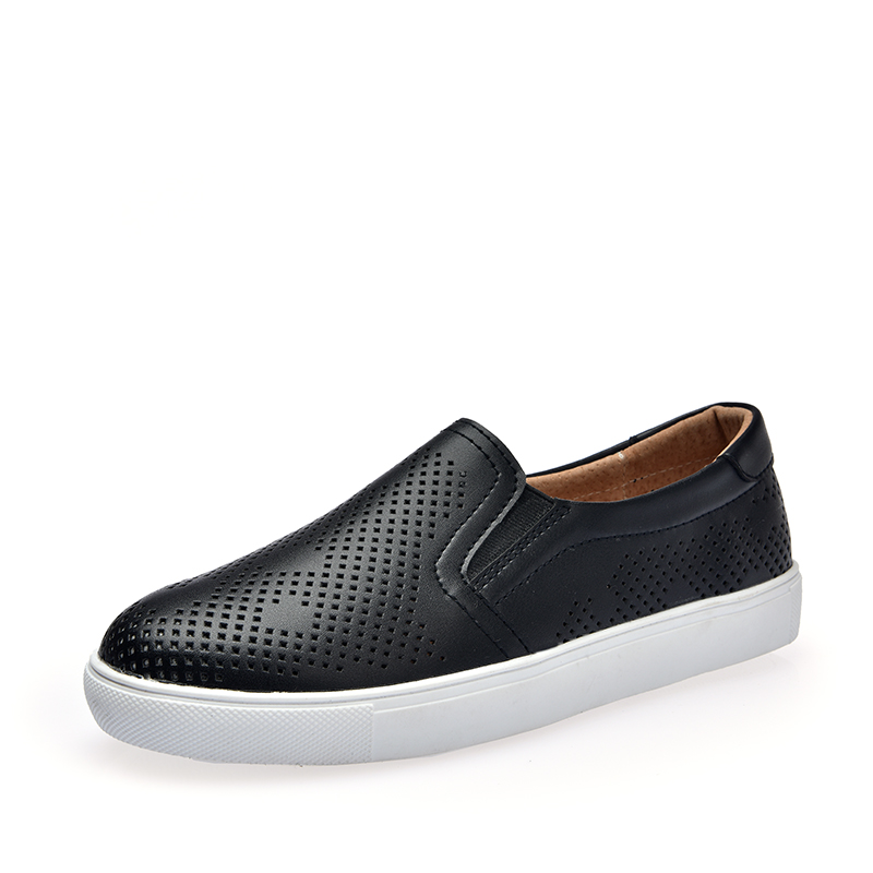 DQG 2018 Spring Loafers Women Shoes Casual Solid White Shoes Split Leather Slip On Zapatos Mujer Flats Shallow Chaussures Femme cresfimix zapatos women cute flat shoes lady spring and summer pu leather flats female casual soft comfortable slip on shoes