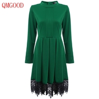 QMGOOD 2017 New Products Autumn Winter Women Dresses Lace Hem Long Sleeves Green Dress Lady Prom