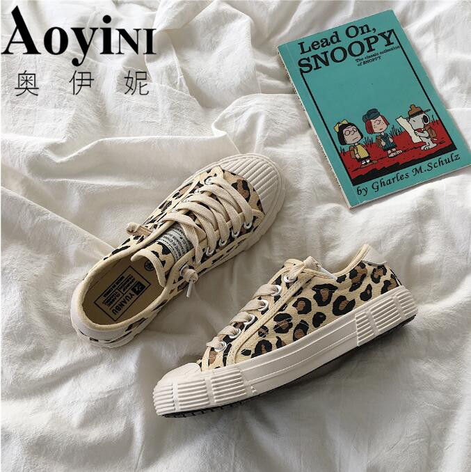 Women Canvas Shoes Leopard Lace Up Lady Sneakers 2019 Spring Flat Heel Thick Canvas Tiger Ins Hot Selling Fashion Shoes 35 40