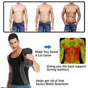 Image 3 - Mens Neoprene Workout Zipper No Zip Tank Tops Sweat Sauna Suits Waist Trainer Slimming Body Shaper Thermo Gym Vest Black