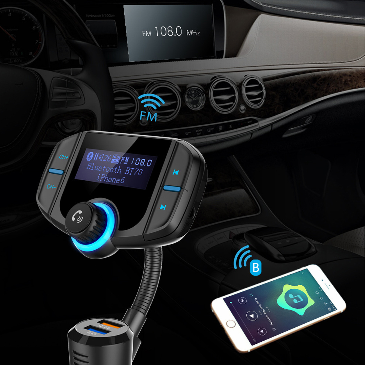 BT70 QC3 0 Car Charger For Smart Phone Handsfree Bluetooth FM Transmitter Car Kit LCD Display MP3 Player Dual USB Car Charger in Car Chargers from Cellphones Telecommunications
