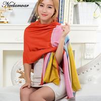 2016 새로운 겨울 스카프 여성 캐시미어 담요 스카프 높은 품질의 그라데이션 컬러 파시미나 스카프 무지개
