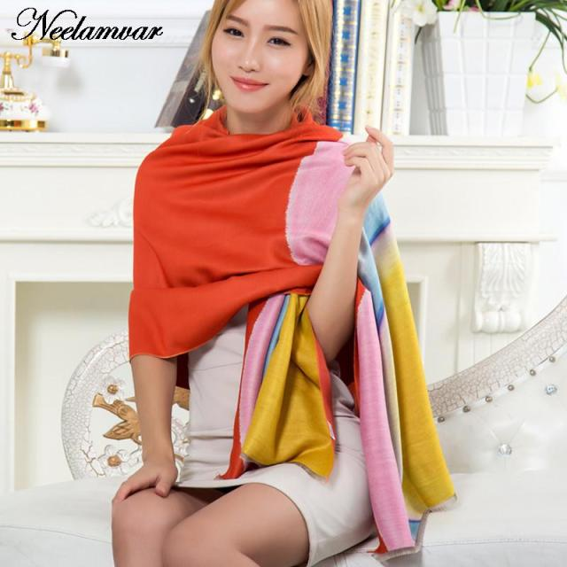 2016 new winter scarf women cashmere blanket scarf  High Quality Gradient color pashmina scarf rainbow shawl for women
