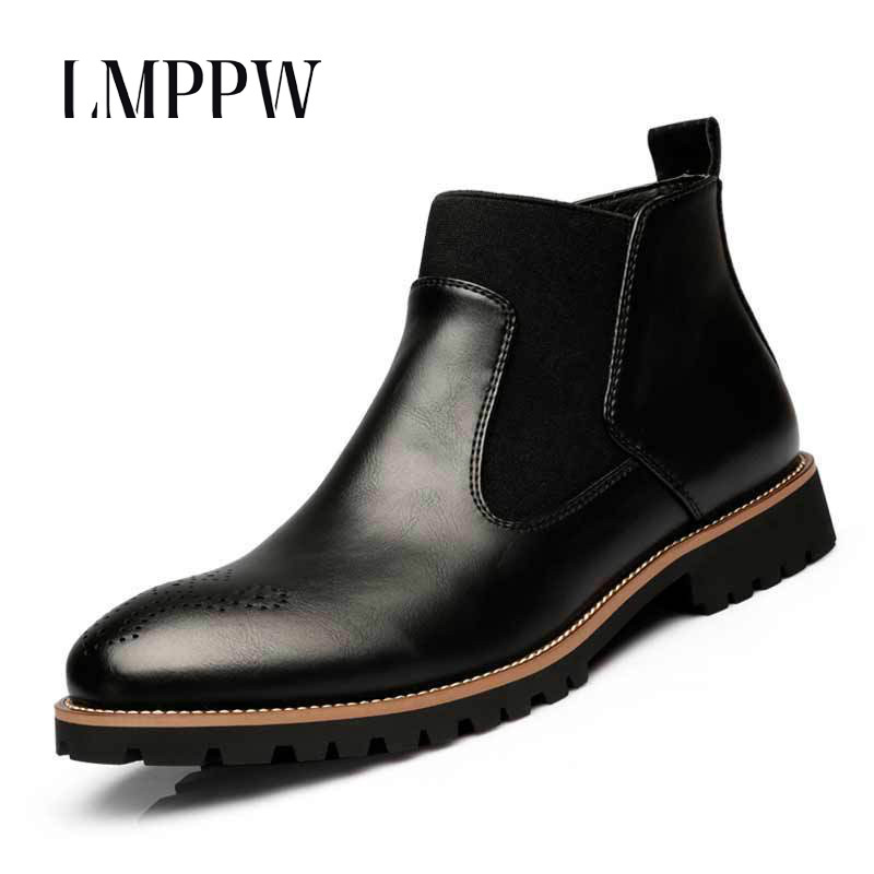 2018 New Brand Winter Boots Men Genuine Leather Martin Boots Fashion Pointed Toe Breathable Ankle Boots for Men Casual Shoes 2A
