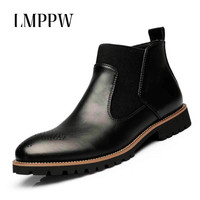 2017 New Brand Winter Boots Men Genuine Leather Martin Boots Fashion Pointed Toe Breathable Ankle Boots