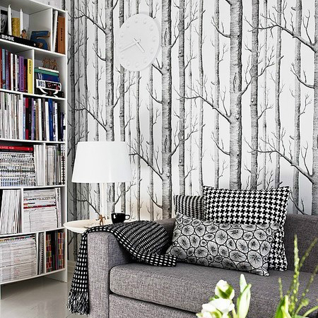 HaokHome Birch Tree non-woven woods wallpaper roll modern designer wallcovering simple black and white wallpaper for living room