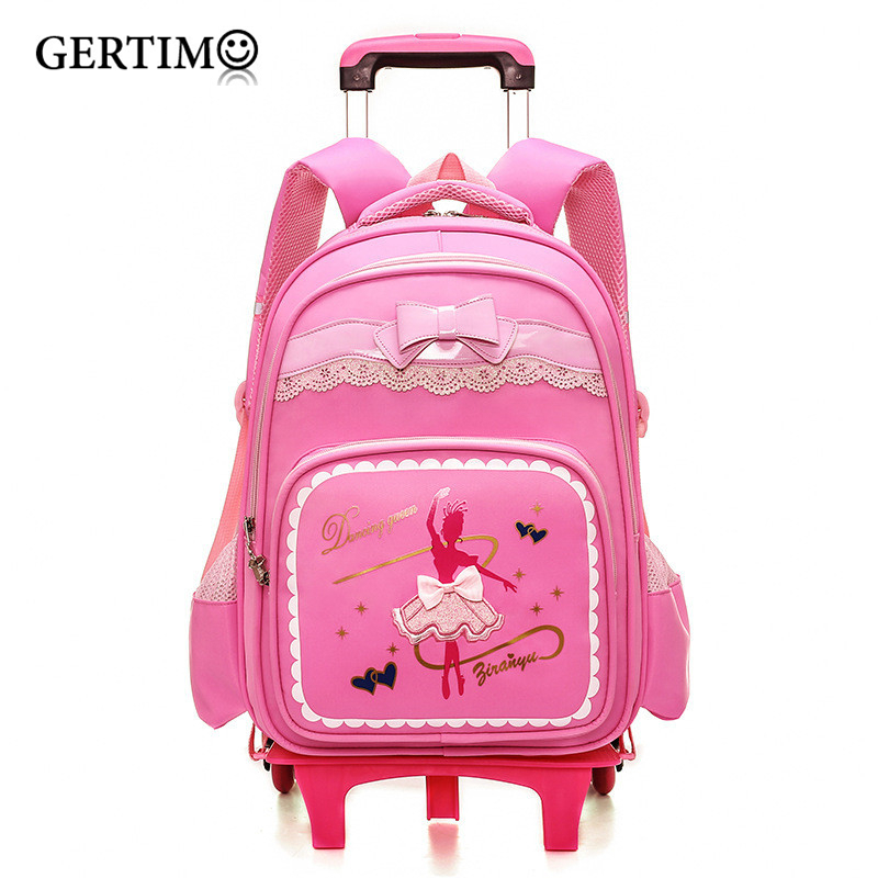 Trolley School Bag For Girls With Three Wheels Backpack Children Travel Bag Rolling Luggage Schoolbag Kids