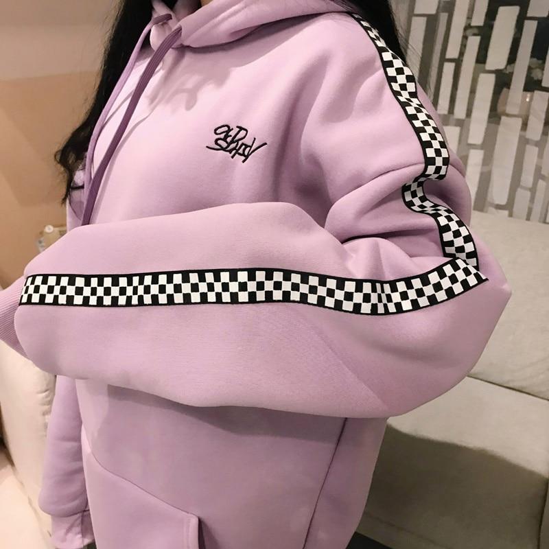 2018 Spring Autumn Korean Women'S Fashion Long Pullover Plus Velvet Checkered Embroidery Letters Hoodies Top Plaid Sweatshirt