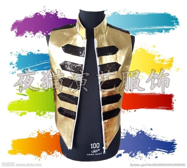 male singer vest  tide male female Korean fashion personality offbeat female singer fan bar DJ gold rivet vest  free shipping