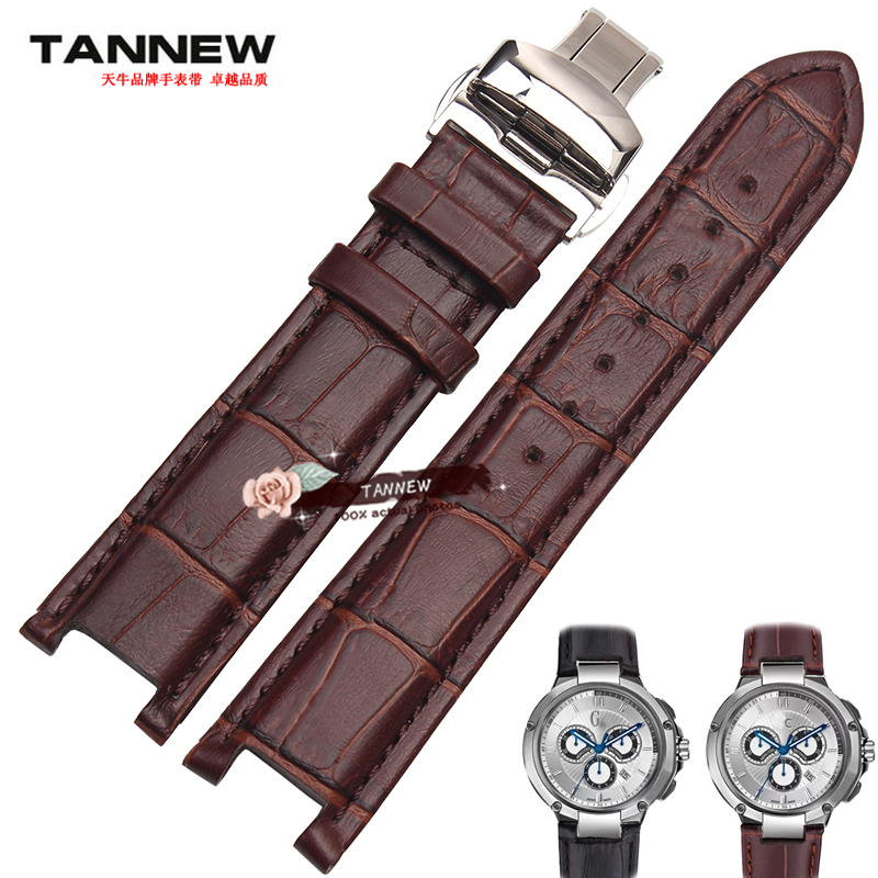 Butterfly Buckle Watchband For GC Watch Strap Cow Leather Men's Bracelet 22*13mm  20*11mm