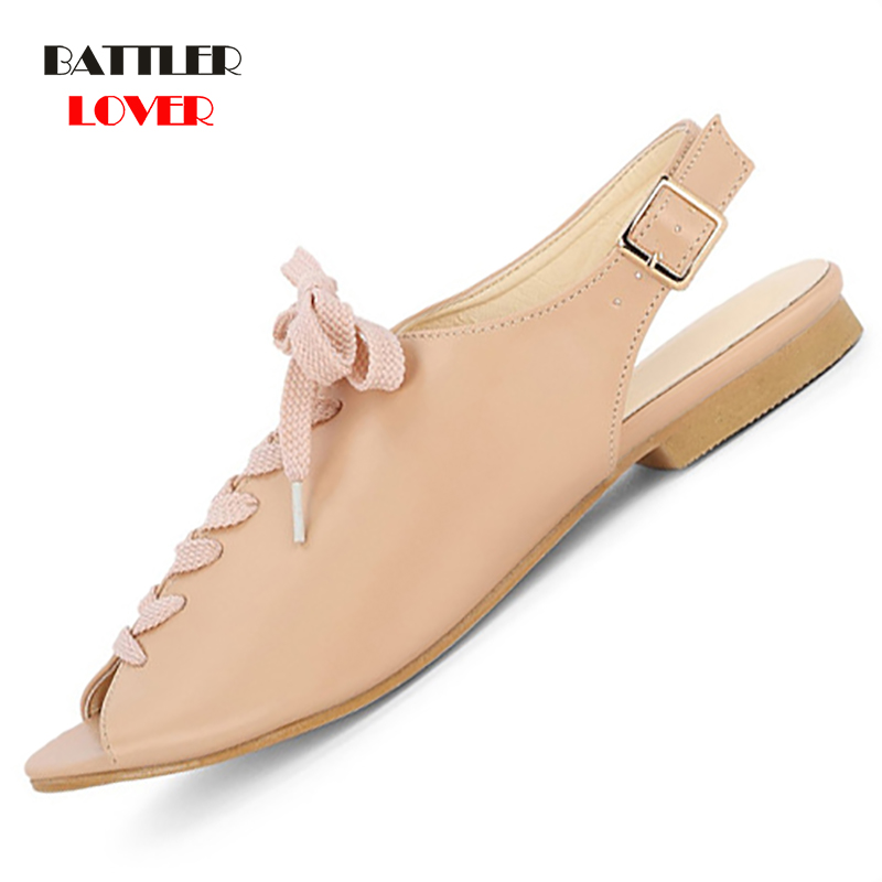 2019 New Women Sandals Flat Buckle Gladiator Summer Ladies Fashion Open Toe Plus Size Rome Shoes Female Casual Peep Toe Style