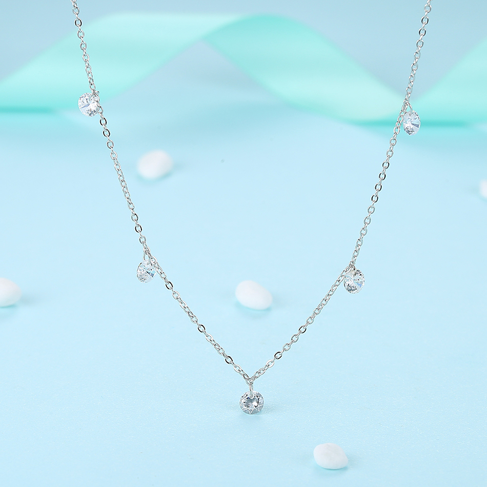 BELAWANG New 925 Sterling Silver Pave CZ Pendant Chokers Necklaces For Women Fashion Lady Festival Gifts Sterling silver jewelry in Choker Necklaces from Jewelry Accessories