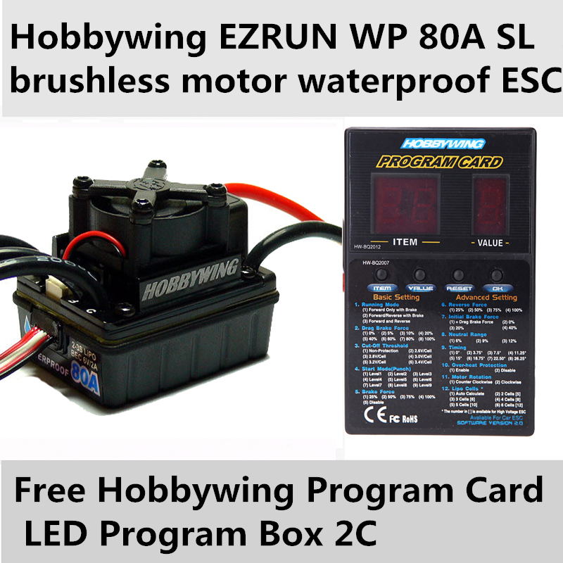 все цены на 2016 new genuine produc Hobbywing EZRUN WP 80A SL brushless motor waterproof ESC for 1/10 car +free Program Card LED Program Box онлайн