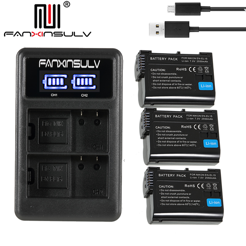 3x EN-EL15 en el15 battery + usb charger for Nikon D7500 SLR camera battery D7000 D7100 D7200 D610 D750 D810 D850 Z7 Z6 Tracking3x EN-EL15 en el15 battery + usb charger for Nikon D7500 SLR camera battery D7000 D7100 D7200 D610 D750 D810 D850 Z7 Z6 Tracking