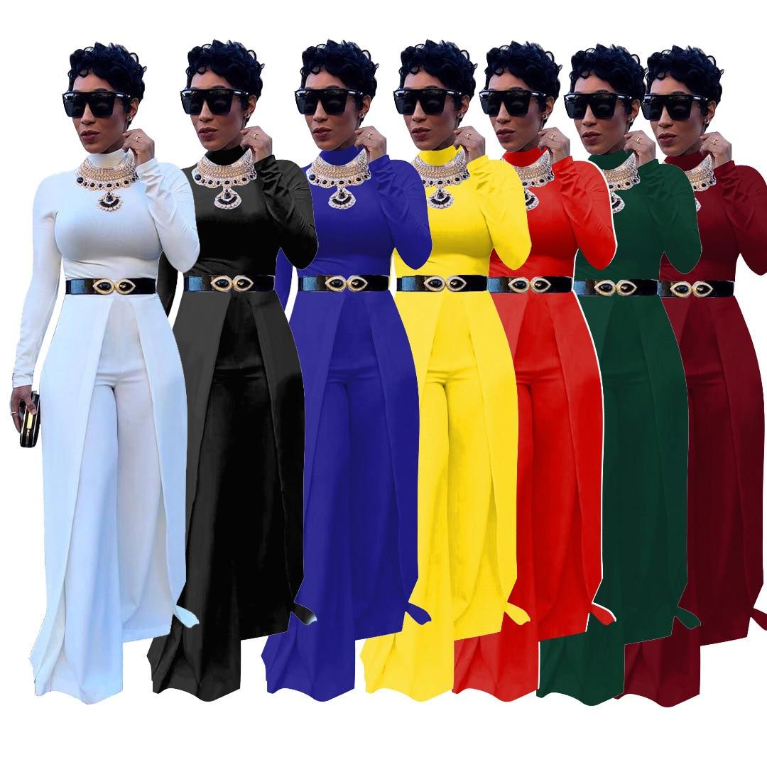 2019 New Women Long Sleeve Cloak Patchwork Wide Leg Jumspuit Vintage Classic Sexy Romper 7 Colors Playsuit Outfit No Belt YM8192