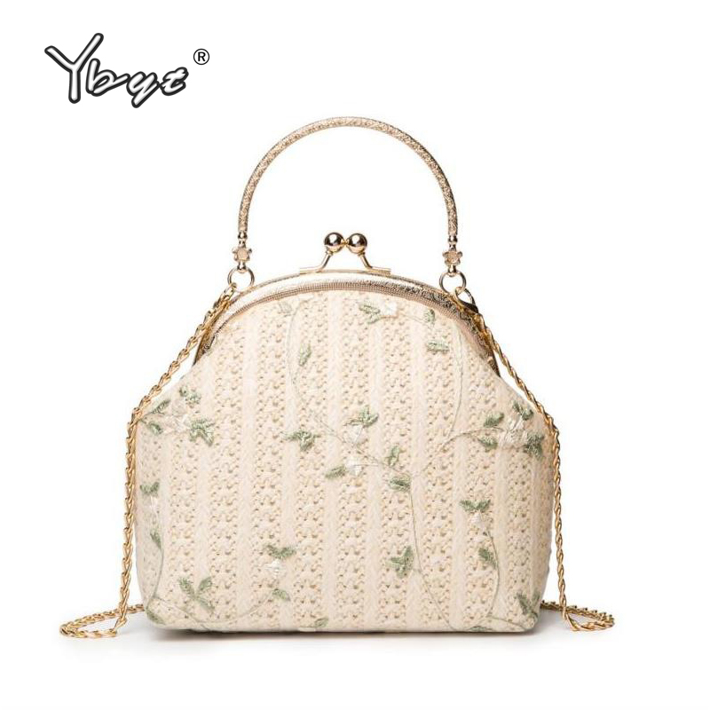 YBYT new fashion straw bags for women 2019 small handbag summer style chain shell shoulder bag purse casual female messenger bag in Shoulder Bags from Luggage Bags