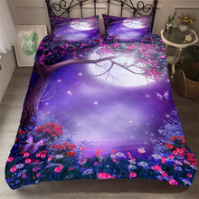 寝具セット 3D プリント布団カバーベッド大人のためのセット海ファンタジー妖精の森ホームテキスタイル寝具枕 # MJSL02