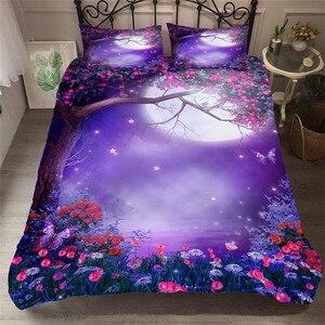 Image 1 - 寝具セット 3D プリント布団カバーベッド大人のためのセット海ファンタジー妖精の森ホームテキスタイル寝具枕 # MJSL02