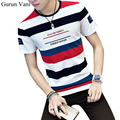 2017 Summer New Men's 95% Cotton Short Sleeve T-shirts Casual Striped O-Neck Slim Fit T shirt Japanese Version Tops Men Tees