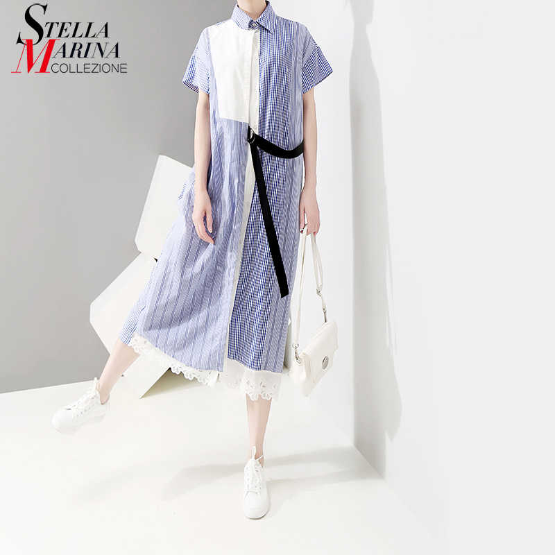 Женское длинное платье-рубашка, повседневное голубое платье составного кроя с частью в полоску и поясом-кушаком, модель 5056 в корейском стиле на лето, 2019