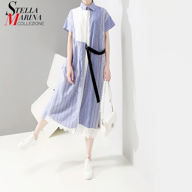 2018 Korean Style Women Summer Long Shirt Dress With Sashes Blue Striped Part Patchwork Female Casual Wear Dress Robe Femme 5056