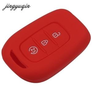 Image 4 - Jingyuqin 3 botões da pele silicone remoto caso chave para renault duster sandero logan clio captur laguna scenic fob titular capa