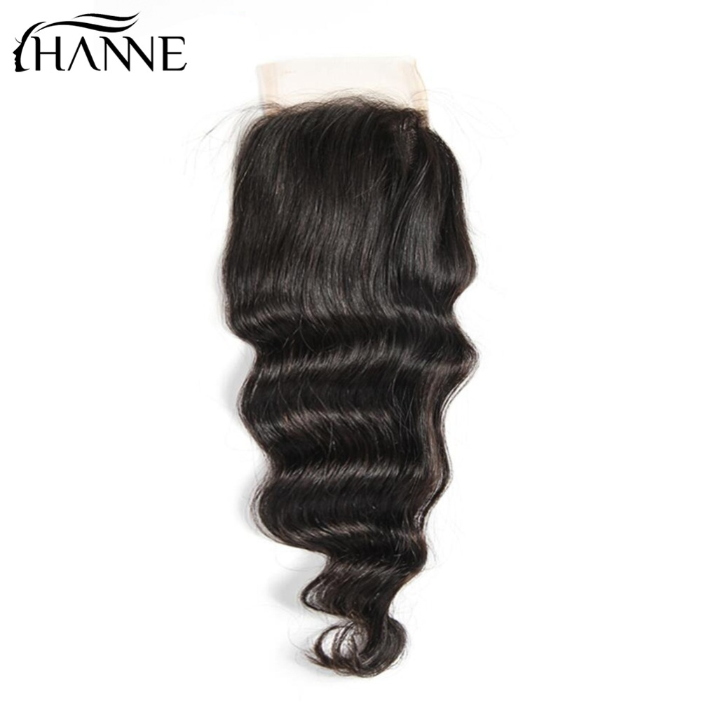 HANNE 4x4 Loose Wave Pre Plucked With Baby Hair Remy Human Hair Swiss Lace Closure Natural Color Free Shipping Non Remy Hair