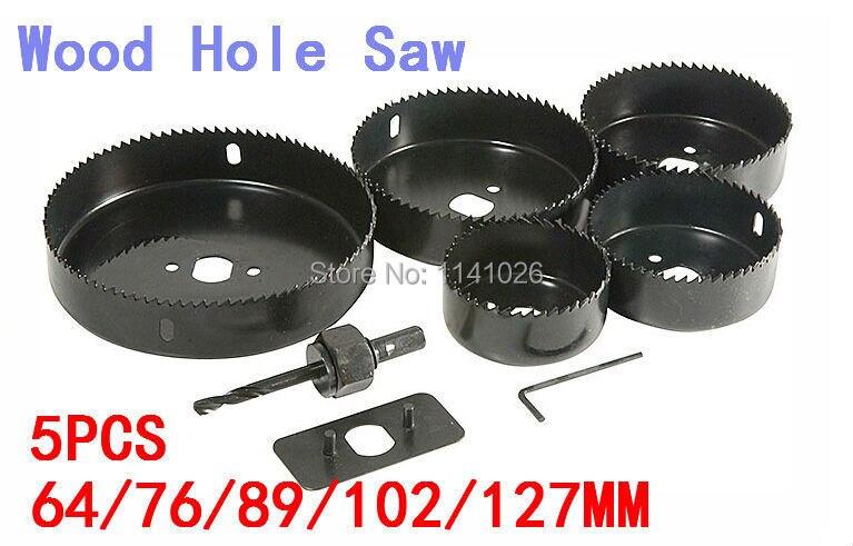 Wood Hole Saw Bit  5PCS  (64/76/89/102/127MM),Woodworking Wood  Plastic Cutting Hole Saw