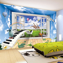 3D Effect Window Scenery Creative Children Room Decor Mural Wallpaper Animal World