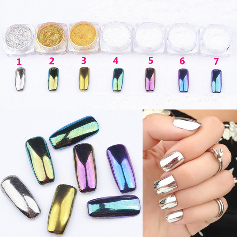 new arrive colorful mirror powder nails art decorations glitter ...