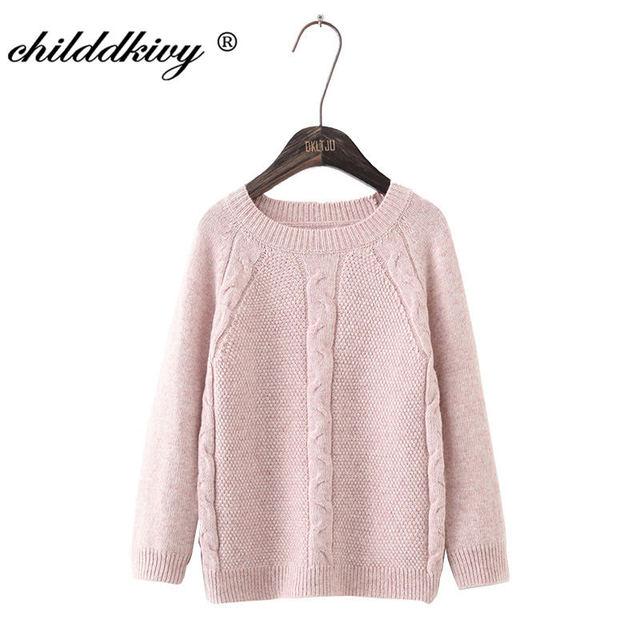 Childdkivy 2018 Autumn Winter Girls Knitted Sweater Teenage Girl