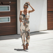 Sexy Bodysuits V Neck Boho Women With Belt Body Femme Macacao Feminino Floral Playsuit Overalls Print Spring Summer Jumpsuit недорого