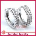 Carraton ESCH8049 Trendy Pure 925 Silver Hoop Huggie Earrings with AAA Cubic Zirconias