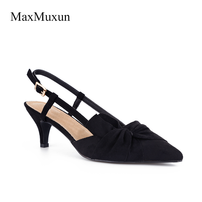 цена MaxMuxun Women Shoes Middle Kitten Heels Slingback Dress Pumps Ladies Bow Knot Blue Black Red Court Christian Party Dance Shoes