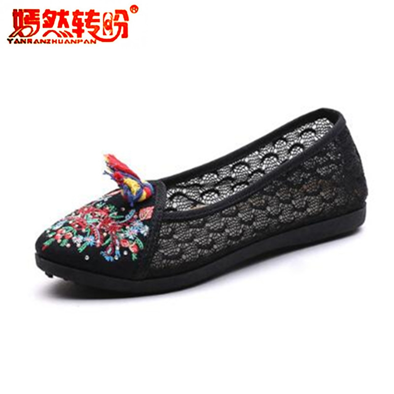 Summer Hollow Lace Flat Shoes Casual Espadrilles Womens Embroidery Flower Old Peking Ballerina Flats Shoes Sapato Feminino 35-41 summer women shoes casual cutouts lace canvas shoes hollow floral breathable platform flat shoe sapato feminino lace sandals page 7