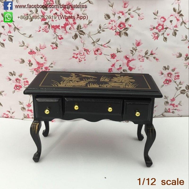 1:12 Dollhouse Miniature Furniture Vintage Table en bois avec tiroirs