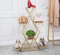 Tieyi Golden Floor Display Shelf, Multi storey Shoe Shelf, Clothing Shop Window Display Shelf
