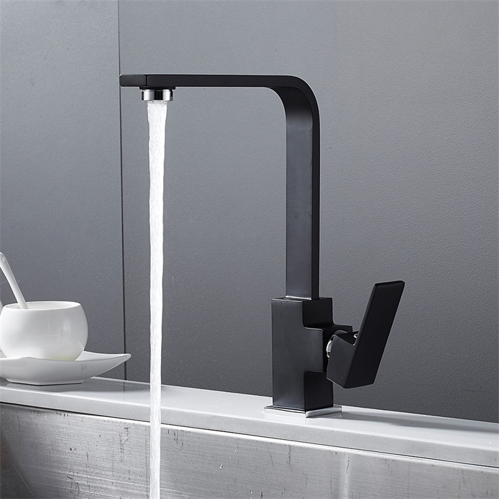 Black Square Kitchen Faucets 360 Degree Rotation Water Filter Tap Water Faucets Solid Brass Sink Tap