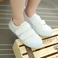New Kindergarten student performances white shoes velco white canvas shoes Spring Autumn Flats For kids 7305